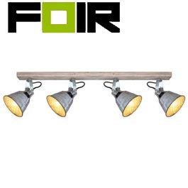 Plafondlamp modern hout 'Gunter I' 4x E27 fitting zilver modern 820mm