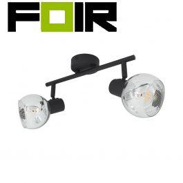 Plafondspot 'Jern' 2 spots E14 fitting zwart aluminium