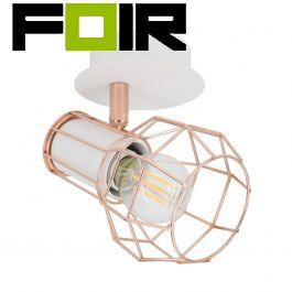 Plafondlamp spot koper 'Bretta' wit E14 fitting 1 spot