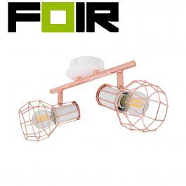 Plafondlamp spot koper 'Bretta' wit E14 fitting 2 spots