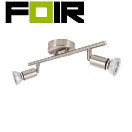 Plafondspot / wandspot 'Oase' aluminium GU10 zilver verstelbaar 2 spots