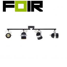 Plafondspot 'Rob' 4 spots zwart GU10 fitting