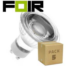 Set van 5x GU10 45º 5W COB glazen LED lampen warm wit 3000k