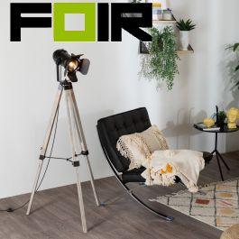 Staande lamp modern 'Kurag' driepoot film spot theater driepoot hout