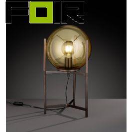 WOFI 'Ronda' tafellamp bruin gekleurd E27 glas bol modern