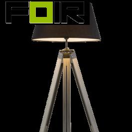 Driepoot staande lamp 'Mareen' vloerlamp - grijs hout - grijs textiel