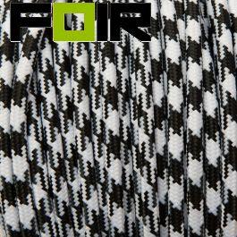 Strijkijzersnoer Zwart/Wit rond 3 kernen