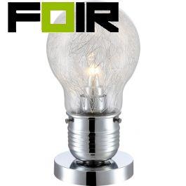 Tafellamp chrome bulb globe 'Felix' E27 fitting 280mm