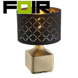 Tafellamp zwart goud 'Mirauea' mesing voet E27 360mm