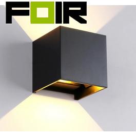 Dimbare Gevelverlichting Kubus 'Ace' zwart 7W led up and down lamp (IP65 volledig waterdicht) DIMBAAR