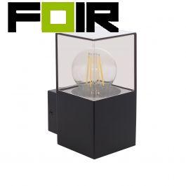 Wandlamp 'Dome' zwart helder glas E27 fitting buitenlamp