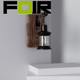 Wandlamp 'Fiana' lantaarn modern e27 fitting modern hout