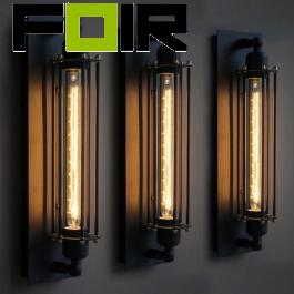 Wandlamp industrieel 'Alex' zwart frame E27 fitting 50cm