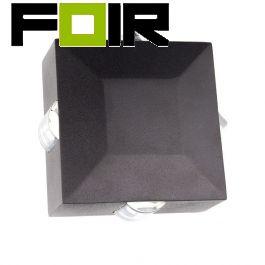 Gevelverlichting 'Cross' zwart vierkant 4W led kruis 124mm