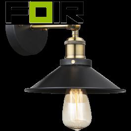 Wandlamp zwarte kap 'Lenius' industrieel E27 fitting