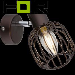 Wandlamp kooilamp bruin 'Akin' E14 fitting industrieel