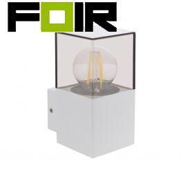 Wandlamp 'Dome' wit helder glas E27 fitting buitenlamp