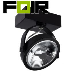 Zwarte verstelbare CREE-COB 15W AR111 LED plafondlamp met 1 spot (dimbaar)