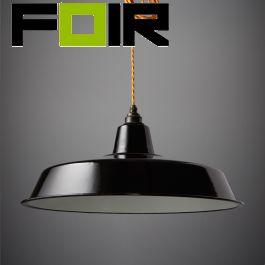 Engelse emaillen Industriële fabriekslamp zwart groot 450mm