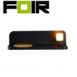 3W zwarte 'Halo' LED wandlamp met draadloze oplader en USB lader