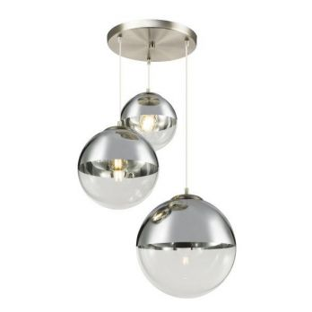 Hanglamp 3 glazen bollen rond glas zilver e27