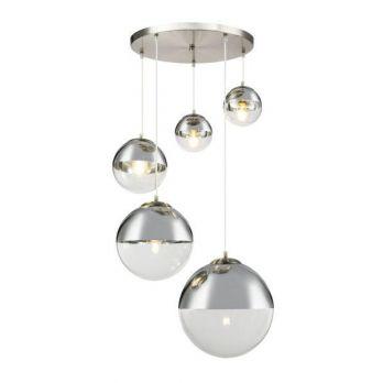 Hanglamp glazen bollen 5x glas rond