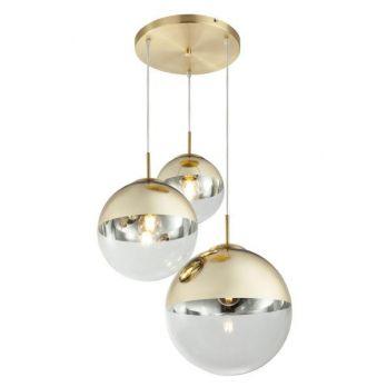 Hanglamp goud drie glazen bollen e27 fitting rond