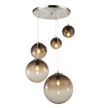 Hanglamp chrome 5 glazen bollen industrieel
