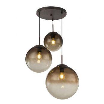 Hanglamp glazen bollen glas smoke 3 lampen e27 fitting