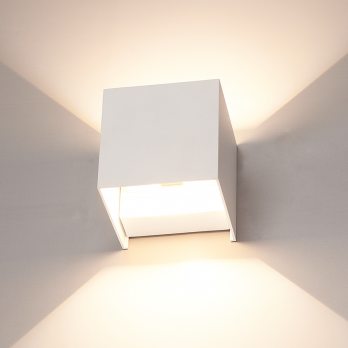 Gevelverlichting Kubus 'Ace' wit 6W led up and down lamp (IP65 volledig waterdicht) op FOIR.nl