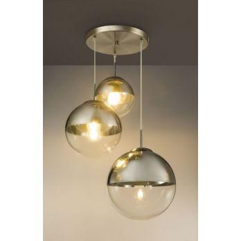 Hanglamp glas 3 bollen 'Varus'- nikkel mat - transparant glas op FOIR.nl