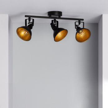 Zwarte industriele plafondspot 'Haines' 3 lampen