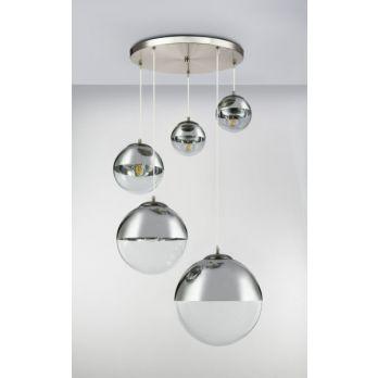 Hanglamp glazen bollen 5x 'Varus' nikkel mat - transparant glas op FOIR.nl