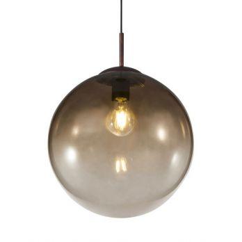 Smoke hanglamp chrome rond glas bol