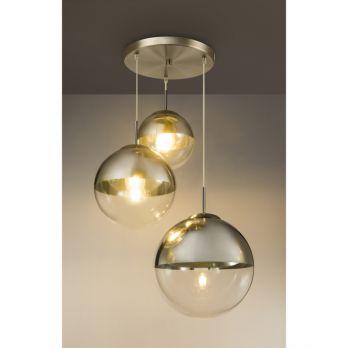 Hanglamp glas bol 'Varus' 3x E27 metaal goud - doorzichtig glas 20cm - 25cm - 30cm op FOIR.nl