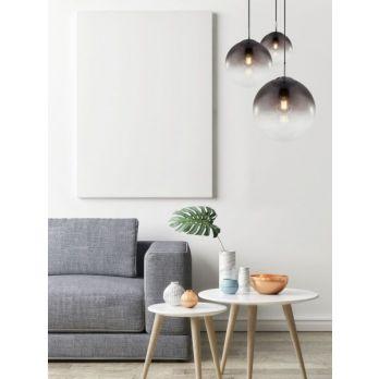 Hanglamp 3 glazen bollen 'Varus' - chroom - smoke glas op FOIR.nl