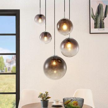 Hanglamp glazen bollen 5x 'Varus' - chroom - smoke glas op FOIR.nl