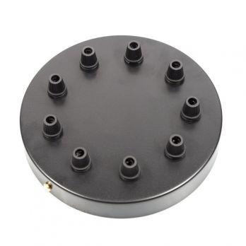 Plafondkap zwart negen uitgangen 160mm