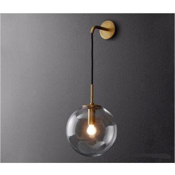 Industriele wandlamp goud vintage