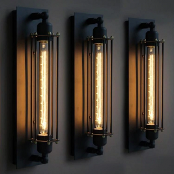 Wandlamp industrieel vintage retro T300 E27 fitting zwart