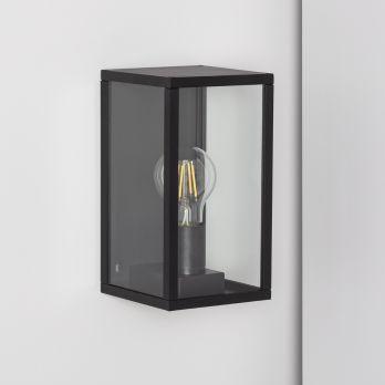 Wandlamp zwart 'Canains' glas frame industrieel buitenlamp E27 IP44 op FOIR.nl