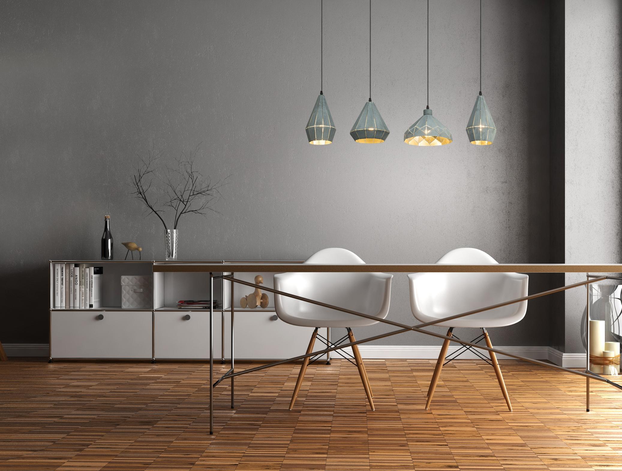 Verrassend Hanglampen set 4 lampen 'Schorsing' metaal grijs E27 fitting nodig AB-21